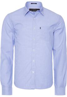 Camisa Masculina Striped Slim French - Azul