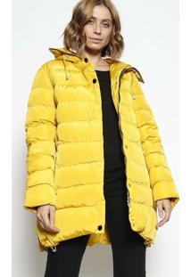 Jaqueta Com Bolsos & Capuz - Amarelo Escuro -Susan Zsusan Zheng