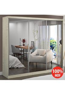 Guarda Roupa 3 Portas Com 3 Espelhos 100% Mdf 7320E3 Marfim Areia - Foscarini