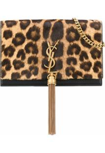 Saint Laurent Bolsa Tiracolo Kate Com Estampa De Leopardo - Marrom