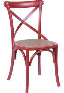 Cadeira Cross- Vermelha & Bege- 89X55X49Cm- Or Dor Design