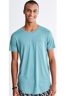 Camiseta Alongada Verde Com Bolso