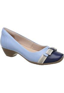 848f28e69 Privalia. Sapato Com Salto Azul Marinho Feminino Publish Couro Bico  Arredondado Tradicional ...