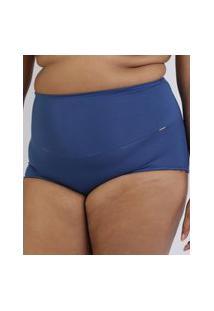 Calcinha Love Secret Plus Size Em Modal Caleçon Com Cintura Alta Modeladora Azul