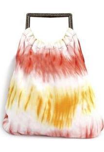 Bolsa Diana Dali Shoes Tecido Tye Dye Feminina - Feminino-Vermelho
