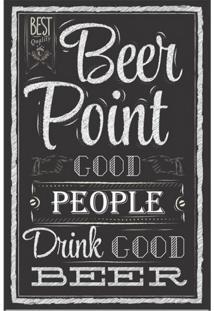 Placa Decorativa Beer Point 20X30 Cm Preto