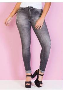 Calça Jeans Preta Com Efeito Desbotada