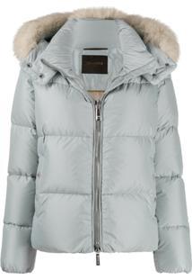 Moorer Fur Trim Puffer Jacket - Azul