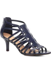 Sandália Couro Shoestock Salto Fino Transpassada Feminina - Feminino-Azul