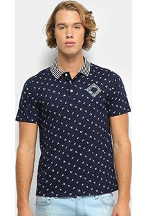 Camisa Polo Milon Malha Estampada Tal Pai Masculina - Masculino-Marinho