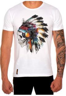Camiseta Lucas Lunny T Shirt Estampada Caveira Cocar Branco