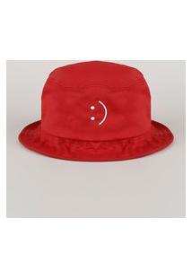 Chapéu De Sarja Masculino Bucket Com Bordado Vermelho