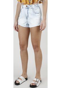 Short Jeans Feminino Mom Cintura Alta Com Rasgos Azul Claro