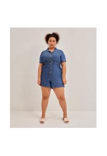Macacão Liocel Liso Com Bolsos E Botões Curve E Plus Size Azul
