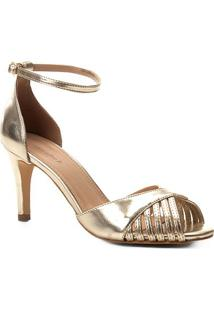 Sandália Shoestock Metalizada Salto Fino Feminina - Feminino-Dourado