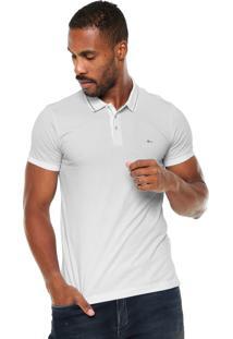 Camisa Polo Aramis Manga Curta Slim Branca/Azul-Marinho