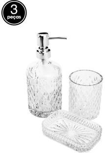 Conjunto 3Pçs Para Banheiro De Vidro Litt Prestige