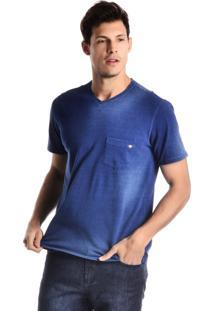 Camiseta Loony Malha Denim Gola V Azul Índigo