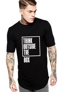 Camiseta Criativa Urbana Long Line Oversized Think Outside The Box - Masculino-Preto
