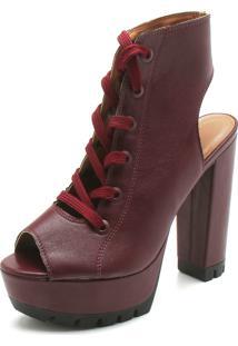 Ankle Boot Vizzano Liso Vinho