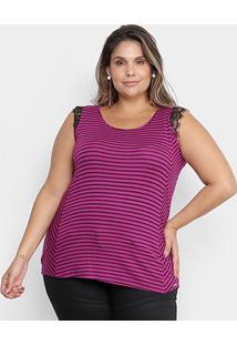 Blusa Cativa Mais Plus Size Listras Renda Feminina - Feminino-Roxo