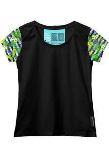 Camiseta Baby Look Feminina Algodão Estampa Flor Conforto - Feminino-Verde+Preto