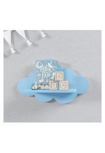 Prateleira Nuvem Azul Quarto Bebê Mdf P 30Cm Gráo De Gente Azul