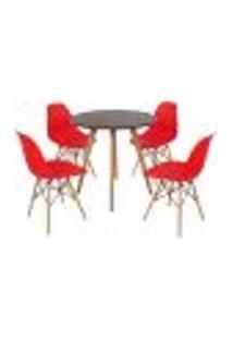 Mesa Inês 80Cm Preta + 4 Cadeiras Eames Eiffel - Vermelha