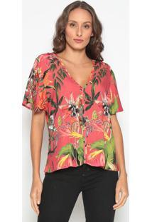 Blusa Floral Com Recortes- Rosa & Verde- Tritontriton