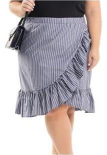 Saia Beline Plus Size Tricoline Listrada Com Babado Miss Masy - Feminino-Cinza
