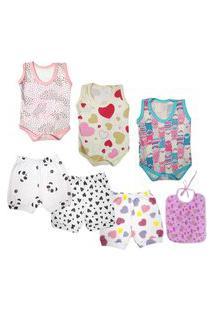 Kit Para Enxoval Roupa De Bebê 7 Peças Menino Menina Verão Rosa