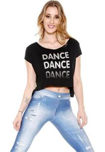 Blusa Trinys Cropped Dance Preta