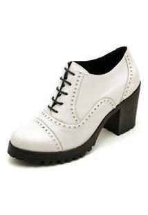 Sapato Oxford Salto Tratorado Ankle Boot Q&A Em Couro Branco