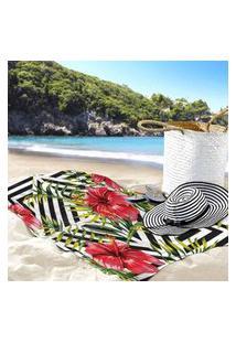 Toalha De Praia / Banho Floras Ibisco Único