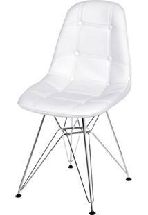 Cadeira Eames Botone Branca Base Cromada - 39064 Sun House