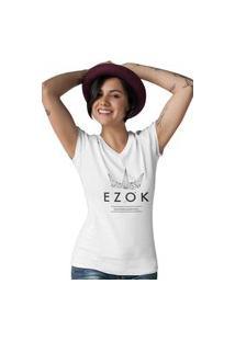 Camiseta Feminina Gola V Ezok Urban Branco