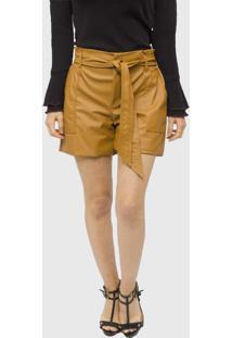 Shorts Couro Miss Joy Clochard Caramelo