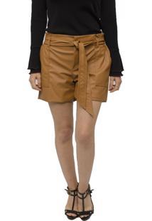 Shorts De Couro Miss Joy Clochard Caramelo