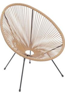 Cadeira Acapulco- Natural & Preta- 85X74X48Cm- Oor Design