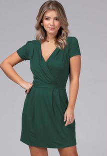 Vestido Com Decote Transpassado Verde Militar