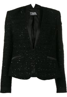 Karl Lagerfeld Blazer Com Paetês - Preto
