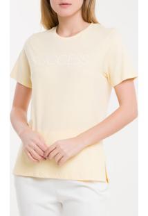 Camiseta Baby Look New Year Success - Amarelo Claro - P