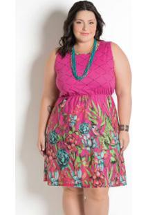 Vestido Estampa Barrada Plus Size Floral