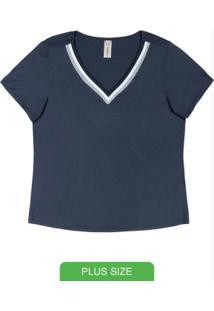Blusa Em Malha Com Decote V Azul