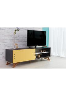 Rack De Tv Preto Moderno Vintage Retrô Com Porta De Correr Amarela Freddie - 160X43,6X48,5 Cm