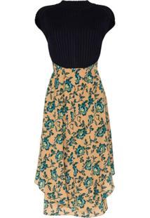 Chloé Vestido Midi Com Estampa Floral - Azul