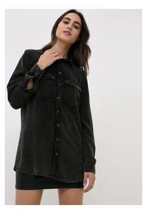 Camisa Jeans Preta Alongada Com Aplicação