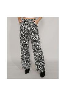 Calça Wide Reta Alfaiataria Estampada Animal Print Zebra Cintura Alta Mindset Branca