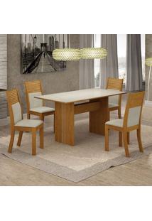 Conjunto De Mesa De Jantar Florença Com 4 Cadeiras Havaí Linho Off White E Bege