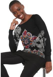 Suéter Desigual Tricot Francia Preto